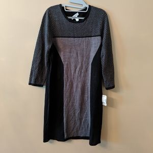NWT- Dress Barn Black and Grey Sweater Dress